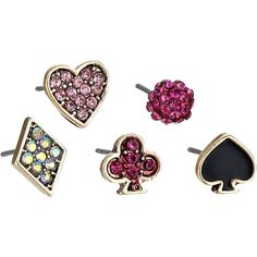 Betsey Johnson Casino Royale 5 Set Stud Earrings Earring, Pink (240 ARS) ❤ liked on Polyvore featuring jewelry, earrings, pink, post earrings, stud earring set, betsey johnson, stud earrings and pink stud earrings