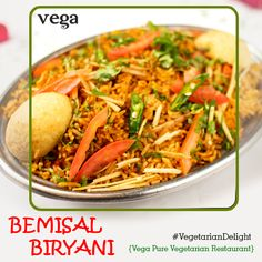 Enjoy A Biryani Affair at Vega Restaurant!   #Vega #Biryani #yum #delicious #vegetarian #BiryaniNight #hyderabadi   #IndianFood #LoveForFood #ThursdayTreats #Amazing #foodieheaven