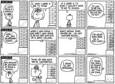 Although the school building loved Sally, it suffered from deppression. Snoopy School, Peanut Pictures, Sistine Chapel, School Building, Calvin And Hobbes, Peanuts, Comic Strips, Grief, Sally