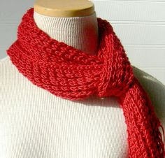 Hand Knit Lace Scarf in Vibrant Scarlet Red by WindyCityKnits, $24.00 #Etsy #red #scarf #knitting #fashion #valentine