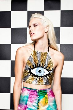 """90's silhouette and """"evil eye"""" embellishment."""