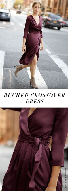 Boom. This color is going to look amazing on you. Every woman needs a wrap dress in their closet, and this one comes with perfectly placed ruffles and a deep, saturated plum color. Dress it up or dress it down, you're going to wear this on repeat. | Banana Republic