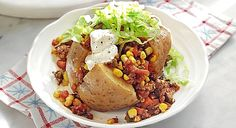 Chilli Beef Filled Baked Potatoes
