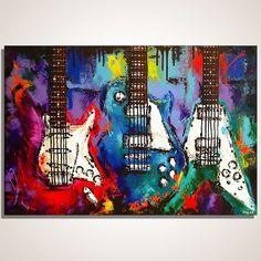 Guitar painting on canvas Music Wall Art Les Paul, Flying V, Strat, Original guitar painting on canvas by Magda Magier #Abstract