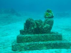 A Maya statue of the human figure Chac Mool sits underwater off the coast of Cozumel, Mexico (Andrew Evans, National Geographic Traveler)