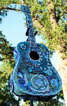 Mixed Media Guitar mosaic custom made by Barefootintheglass