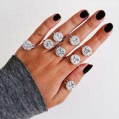 Silver Druzy Adjustable Ring