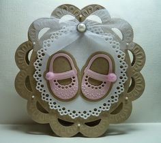 A sweet girl Baby Girl Cards, New Baby Cards, Baby Scrapbook, Scrapbook Cards, Baby Congratulations Card, Baby Shower Invitaciones, Shaped Cards, Crochet For Boys, Marianne Design