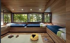 Lakeside Camp — murdough design Featuring Carlisle Wide Plank Walnut Floors on radiant heat. Bunk Bed Rooms, Bunk Beds With Stairs, Lofts, Lakeside Camping, Lakeside Lodge, Built In Bunks, Sleeping Porch, Walnut Floors, Loft Spaces