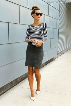 0973e6864e8fb Chic Street Style  Striped tee + charcoal pencil skirt + white pumps +  Express clutch miniaudiere Gray T-shirt dress + striped shirt + red lip +  white ...