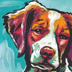 Brittany Spaniel portrait art print modern Dog pop art bright colors 8x8 giclee print. $11.99, via Etsy.