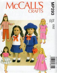 """McCall's P293 7370 Free Us Ship Out of Print 18"""" Doll Clothes Wardrobe Sailor Pj's Nightgwon robe New Sewing Pattern Fits American Girl by LanetzLiving on Etsy"""