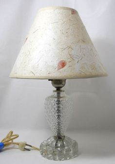 "Clear crystal table lamp parchment shade tiny petals fibers embedded 15"" #Unbranded #Traditional"