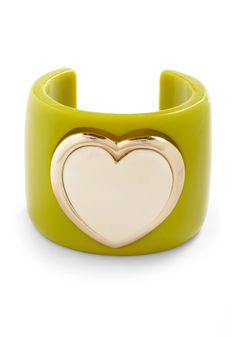 Let Your Heart Rule Bracelet - Green, Tan / Cream, Gold, Solid, Casual