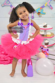 Doc McBirthday Girl Tutu Dress for Doctor and Nurse Themed Party Cake Smash Pageant Outfit Halloween Costume Baby Girl Toddler Child