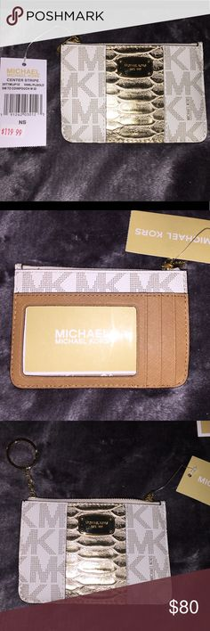 NWT coin purse Beautiful gold and cream signature Michael Kors NWT coin purse, has keychain attachment Michael Kors Bags Clutches & Wristlets