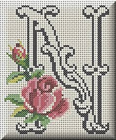 Monogram letter N cross stitch. Cross Stitch Letters, Cute Cross Stitch, Cross Stitch Charts, Cross Stitching, Cross Stitch Embroidery, Hand Embroidery, Plastic Canvas Letters, Christmas Embroidery Patterns, Tapestry Crochet