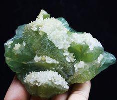 410g Rare Jade Green Cube Fluorite & Calcite Crystal Cluster Mineral Specimen
