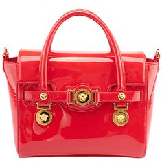 Pre-owned Versace Medusa Signature Red Patent Leather Tote ($1,472) ❤ liked on Polyvore featuring bags, handbags, tote bags, red handbags, red tote, tote purse, handbags totes and patent leather tote bag