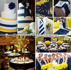Navy Blue and Yellow Wedding Theme