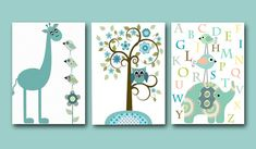 "Art for Baby Nursery print set of 3 11"" x 14"" baby room elephant giraffe alphabet on Etsy, $60.00"