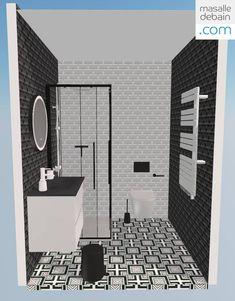 Une idée de salle de bain en noir et blanc, imaginée avec une paroi de douche verrière au style industriel, un mix de carreaux metro et carreaux de ciment pour un jeu de contrastes particulièrement contemporain. Vous aimez cet aménagement de salle de bain? Configurez-le aux mesures de votre intérieur ! Home Design, Design Ideas, Bathroom Design Layout, Diy Bathroom Decor, Projects, St Cloud, Small Bathrooms, Home Decor, Cement Tiles Bathroom