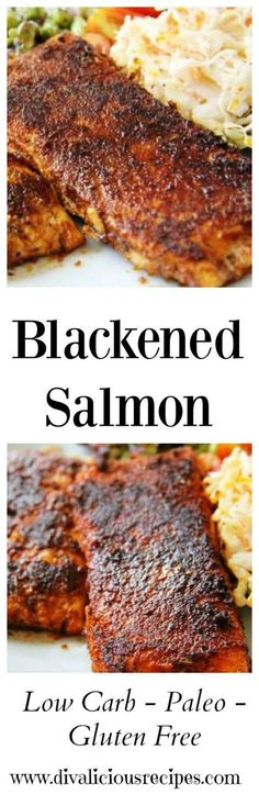 This blackened salmon dish is a mix of spices that give the black appearance yet packs a spicy taste.This blackened salmon dish is a mix of spices that give the black appearance yet packs a spicy taste. Salmon Dishes, Fish Dishes, Seafood Dishes, Seafood Recipes, Seafood Meals, Chicken Recipes, Baked Chicken, Vegetable Recipes, Spicy Salmon