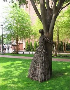 Treehugger at Pratt Institute, Brooklyn, NY. The Treehugger Project, by Agnieszka Gradzik and Wiktor Szostalo, is an ongoing work of environmental art made from twigs, branches, vines, and other natural materials in the shape of human figures hugging trees. The works represent the artists' ongoing mission to help people rediscover their relationship with nature. www.pratt.edu
