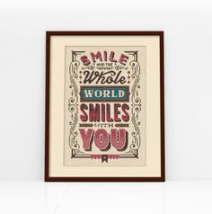 Smile Typographic Cross Stitch Pattern Digital por Stitchrovia