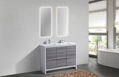 Dolce 48? Double Sink Ash Gray Modern Bathroom Vanity with White Quartz Counter-Top