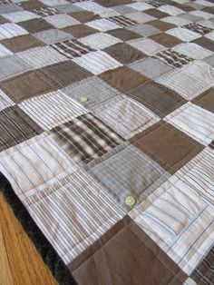 Quilt from men's shirts.  I just got my sewing machine out after three years and this reminded me of a boy's quilt made from grandpa's old shirts and khakis that needs to be finished!!