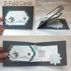 Z Fold Card - Flurry of Wishes stamp set with tutorial link by LovenStamps