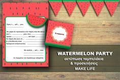 Πάρτυ Καρπούζι. Εκτυπώστε δωρεάν ταμπελάκια & προσκλήσεις Party Printables, Free Printables, Watermelon, Frame, How To Make, Life, Picture Frame, Free Printable, Frames