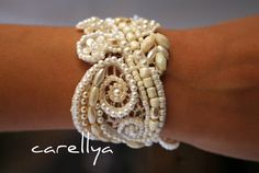 Vintage Lace Bridal CUFF Beaded Hand Embroidered by carellya, $95.00