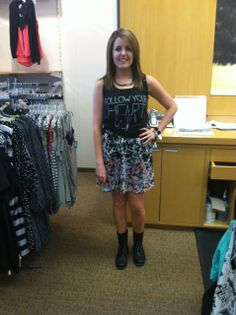 floral dress + tank top + combat boots #maurices