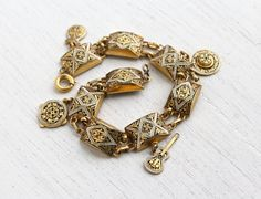 Vintage Enamel Damascene Style Charm Bracelet - Retro Gold Tone Panel Spain Design Costume Jewelry / Spanish Guitar, Hat Pendants, by Maejean Vintage on Etsy, $26.00