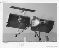 """Ryan VZ-3RY """"Vertiplane"""" flight-testing on Moffett Field in 1958 (from the @sdasm archive). Propeller wake deflected downward by big flaps for vertical take-off."""