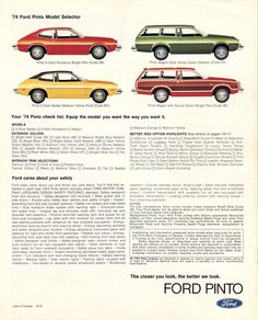 Ford 1974 Pinto Sales Brochure Ford Pinto, Mclaren Mercedes, Chrysler Jeep, Ford Models, Exterior Colors, Buick, Volvo, Volkswagen, Exterior Paint Colors