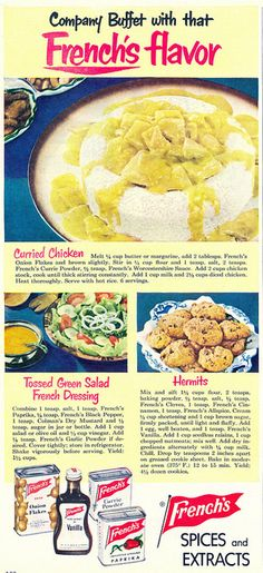Vintage's Frenches Spices and Extracts ad from 1951. #vintage #food #1950s #ads