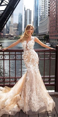 Milla Nova 2018 Wedding Dresses are here! Photographed in the lovely city of Chicago, the collection has something for every type of bride. From fashion-forward gals to timeless girls, these gowns will make any women look and feel beautiful. Wedding Dresses 2018, Princess Wedding Dresses, Bridal Dresses, Gorgeous Wedding Dress, Beautiful Gowns, Lace Wedding, Ball Dresses, Ball Gowns, Mermaid Dresses