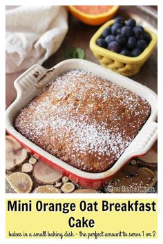 This Mini Orange Oat Breakfast Cake is a dream, it's tender crumb perfumed with oranges makes it ideal for breakfast, an addition to your brunch table or as an afternoon snack or dessert. Made with oats, orange juice and a few other ingredients. Baked in a small baking dish or the batter can be used to make 2 muffins. | One Dish Kitchen | #cake #minicake #minidessert #dessert #smallbatch #orange #recipe