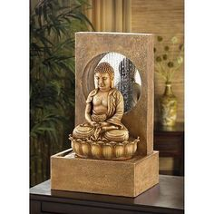 Meditating buddha tabletop fountain with led light buddha water cascading table top waterfall curtain serene buddha indoor fountain sculptural workwithnaturefo