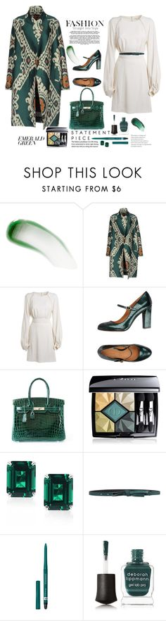 """Emerald Green"" by terry-tlc ❤ liked on Polyvore featuring Lipstick Queen, Chloé, Chie Mihara, Hermès, Christian Dior, CARAT* London, KI6? Who Are You?, Rimmel, Deborah Lippmann and Omorovicza"