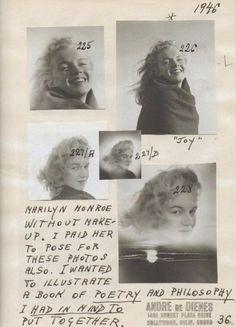 Avant d'être célèbre, Marilyn Monroe était connue sous le nom de NormaJeaneDoughertyet en 1946, elle et son amant, le photographe André deDienes, avaient voyagé à la plage deMalibuoù la future bombe blonde âgée alors de 20 ans a posé pour une séance de photos.Le photographe avance ces propos :