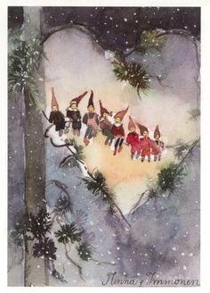 Christmas Time in the City — themagicfarawayttree: Minna Immonen – Winterbilder Christmas Gnome, Christmas Art, Winter Christmas, Christmas Decorations, Xmas, Vintage Christmas Cards, Christmas Images, Vintage Cards, Yule