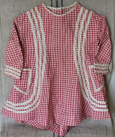 Antique Child's Dress 1880s Red gingham age 2 or 3 by sarahlista
