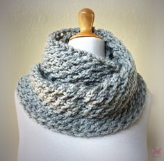 PEARL GREY Infinity scarf / cowl  Wool Blend chunky by Scarfworld, $20.00