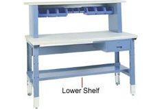 "72"" Lower Work Bench Shelf - Blue by Lyon. $53.95. 72"" Lower Shelf Maximizes your work and storage space. Shelf measures 72""W x 13""D. Blue powder coat finish."