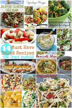 This is one to pin! A collection of must have salad recipes, from pasta to slaw and even fruit. You'll find tons of healthy and delicious recipe ideas for right now!