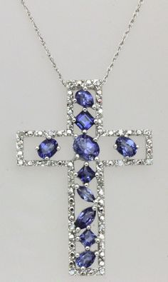 "10k white gold 0.18 ct diamond & blue sapphire cross pendant chain 18"" 10kt"